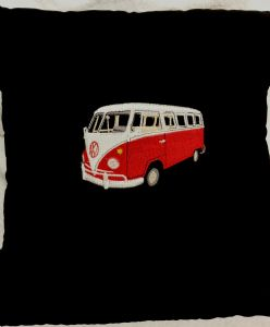LARGE PERSONALISED EMBROIDERED VW CAMPER VAN THEME CUSHION - Black and Red VW Camper